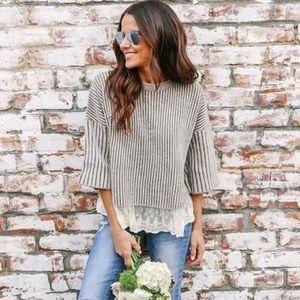 Vici Under Wraps Lace Contrast Sweater - Medium